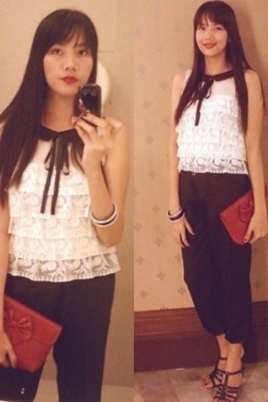 ruby red ribbon bag - black harem pants - ivory lace blouse - black heels - acce