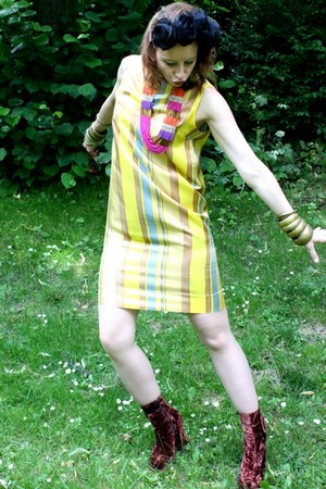 bronze thrifted vintage bracelet - brown vintage boots - yellow vintage dress
