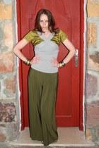 olive green vintage top - dark khaki halter emporio armani top