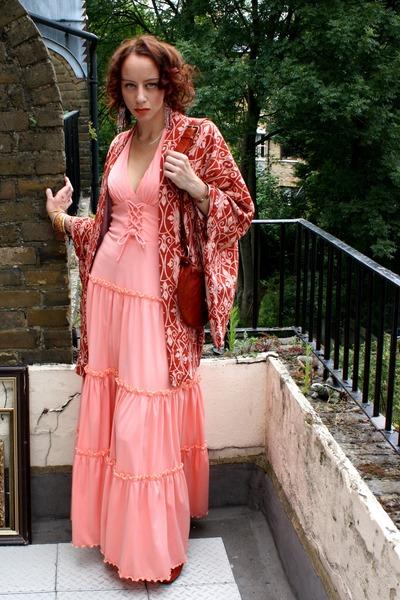 2163d3b33d peach maxi vintage 70s dress - burnt orange japanese kimono thrifted jacket
