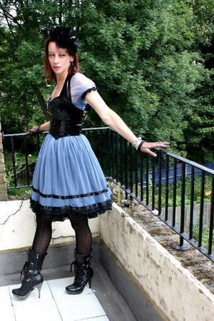 black New Rock boots - blue lace anime thrifted dress - black sheer  fishnet Mar