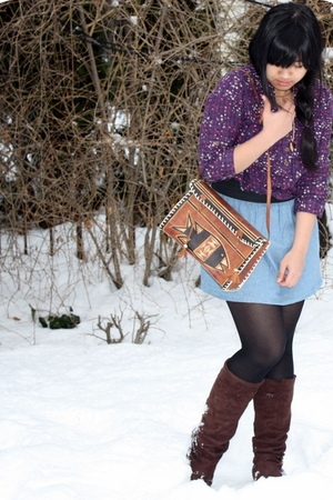 purple Charlotte Russe blouse - blue Forever21 skirt - black stockings - brown S
