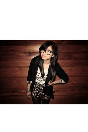 black Forever21 glasses - black Thrift Store blazer - white Forever 21 shirt - b