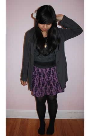 black Charlotte Russe shirt - gray Forever 21 coat - purple Forever 21 skirt - b