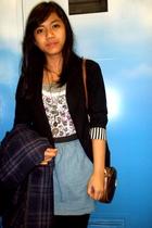 black blazer - blue skirt - purple Juicy Couture coat - brown Louis Vuitton acce