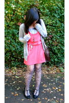 Forever 21 dress - Forever 21 jacket - coach accessories - Hot Steps stockings -
