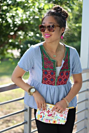 sky blue peplum American Eagle top - brown Anthropologie sunglasses