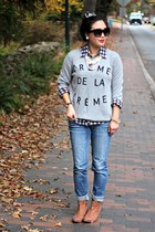 heather gray DIY sweater - brown Bluetique boots