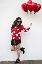 red heart francescas sweater - black ankle boots Impressions Boutique boots