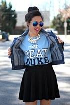 brown sandals Dolce Vita wedges - blue Belk jacket