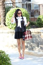 white Ralph Lauren blouse - red Prada bag - black sequin peplum Forever 21 top