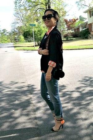 black Forever 21 shirt - orange Gap shirt - black Shopcalico sunglasses
