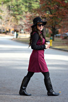 black TJ Maxx boots - magenta banana republic dress - black Forever 21 hat