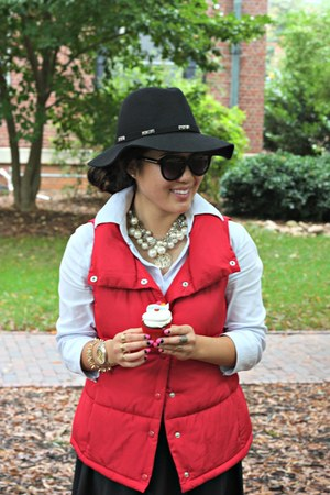 red Forever 21 vest - black Forever 21 hat - black Karen Walker sunglasses