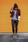 Black-faux-leather-charlotte-russe-leggings-red-plaid-forever-21-blazer