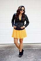 orange expess dress - black Forever 21 boots - black Forever 21 jacket