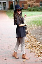 camel Bluetique boots - black Forever 21 hat - dark brown Louis Vuitton bag