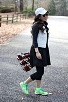 red Prada bag - nike shoes - black Forever 21 dress - dark gray JCrew sweater