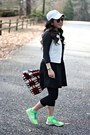 Nike-shoes-black-forever-21-dress-dark-gray-jcrew-sweater-red-prada-bag
