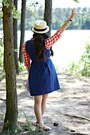 Blue-ann-taylor-loft-dress-eggshell-urban-outfitters-hat