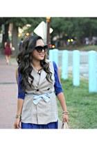 beige Forever 21 vest - blue Forever 21 dress - dark brown Louis Vuitton bag