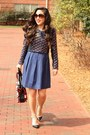 Blue-ann-taylor-loft-dress-navy-h-m-blazer-red-prada-bag