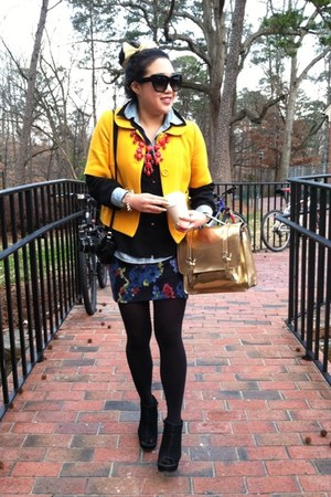 mustard Forever 21 jacket - light blue banana republic shirt