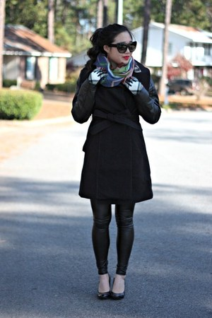 teal Glamplaza scarf - black H&M coat - black Charlotte Russe leggings