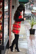 black Kushyfoot tights - red vera wang dress - black TJ Maxx heels