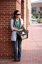 silver vintage jacket - black Forever 21 boots - green Forever 21 shirt