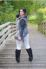 Black-suede-boots-silver-denim-yes-or-no-jeans-knitting-in-style-vest