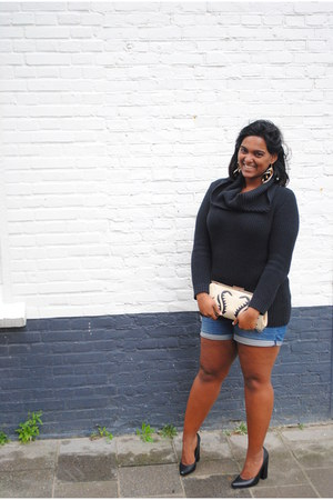black Nelly heels - black knitted h&m divided dress