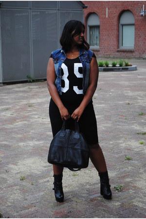 black blink boots - black dress - black faux leather Givenchy bag