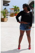 black faux leather bag - denim shorts - black top - black Louis Vuitton glasses