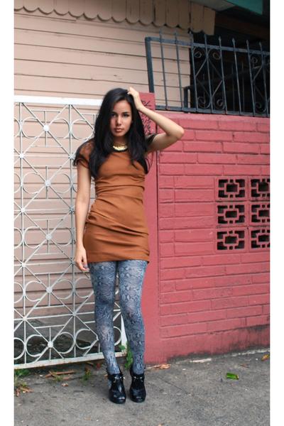 orange DIY dress - gray snake print Zara tights