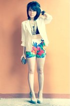 studded bag - cropped top - flowers fashLAB pants - YSL heels