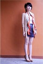 brown Freddies shoes - vintage scarf - white top - grey draped skirt
