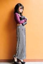 maroon cropped Topshop blouse - black platform Zara heels