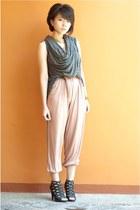 worn as vest scarf - jumper - caged heels - brown skinny belt