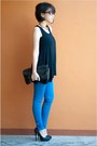 Pumps-aldo-heels-cobalt-zara-jeans-striped-jacket-sleeveless-mango-top