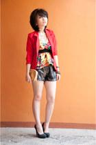 Zara jacket - sequined Zara pants - pump heels - floral print top