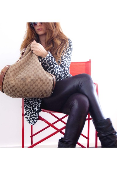leather Zara leggings - alcot boots - zebra H&M coat - Gucci bag