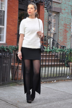 black Zara skirt - white Zara sweater - black Chanel bag - white Chanel bracelet