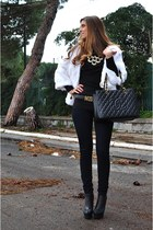 black Steve Madden boots - black Chanel bag - black Moschino belt