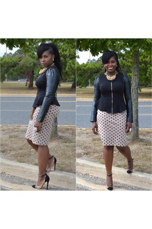 faux leather Tannys Couture top - H&M necklace - polka dots Tannys Couture skirt