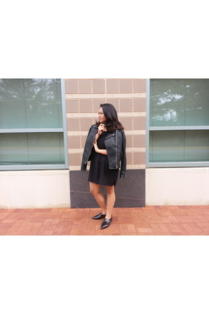 Forever 21 shoes - H&M dress - faux leather Forever 21 jacket