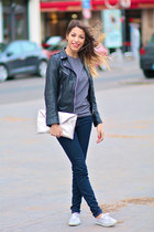 leather La Canadienne jacket - JBrand jeans - silver clutch Gat Rimon bag