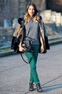 Black-chloe-boots-black-fur-maje-coat-teal-sandro-jeans