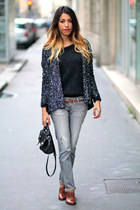 sparkly gerard darel jacket - Jonak shoes - salsa jeans - VANESSA BRUNO sweater