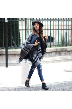 River Island cape - Office boots - J Brand jeans - Urban Outfitters hat